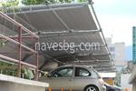 изработка по поръчка на навес от метални профили за много автомобили с плътна покриваща мрежа
